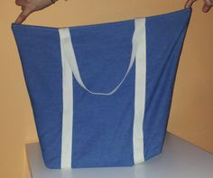 tote beach bag made of denim by Snailwithamail on Etsy