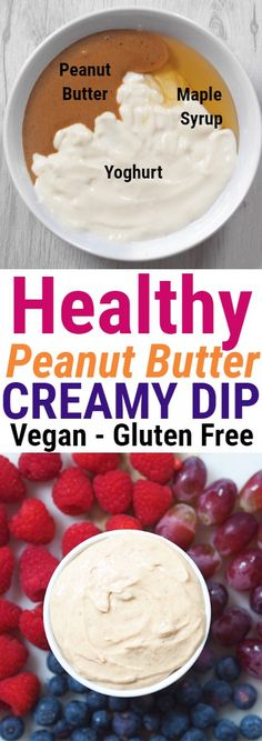 Healthy Peanut Butter Dip! Creamy and delicious! #vegan #glutenfree #dip #peanutbutter #healthy #food #recipe #vegetarian #fruit #breakfast #glutenfree #carbfree #lowcarb #dessert #snack