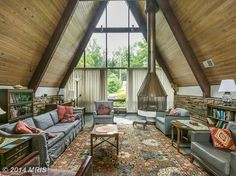 A-Frame house interior in Towson, Maryland