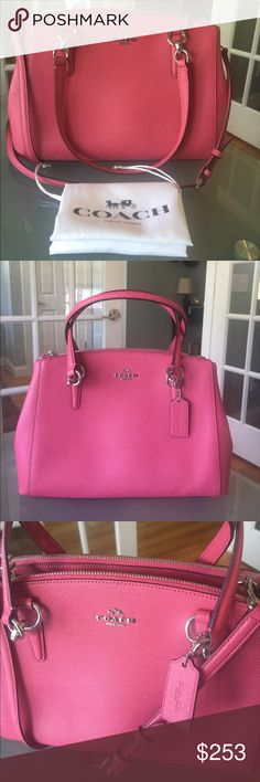 """COACH Christie Carry-All Small (but large!) NWT COACH Christie Carry-All. This strawberry in color """"small"""" bag is huge!!!  13""""L x 9""""H x 5""""D approx.  Awesome purse!!  3 separate compartments, 2 that r a zippered closure and the other a magnetic closure. You will have ample space to arm/shoulder/crossbody this bag! Dust bag included!  NWT Coach Bags Shoulder Bags"""