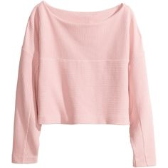 H&M Cropped top (65 BRL) ❤ liked on Polyvore featuring tops, sweaters, jersey sweater, cotton jersey, ribbed sweater, pink cropped sweater and cropped sweater