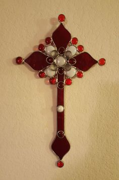 Red and White Stained Glass Cross by eljamongrande on Etsy