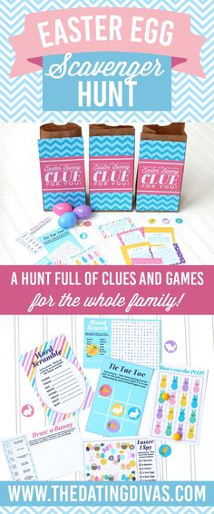 My family would LOVE this Easter Scavenger Hunt! There is a little game in each bag! CUTE!! Printables designed by www.awell-featherednest.com www.TheDatingDivas.com