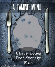 In hard times, this famine menu food storage plan may come in handy. It provides a daily menu and a shopping list of budget-friendly foods. (Food storage for a year.) | via www.TheSurvivalMom.com
