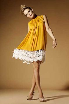 yellow dress with lace