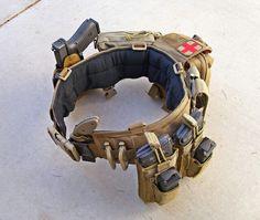 War belt featuring glock, ka bar tdi knife, pmag, glock magazine holster and first aid kit