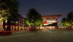 Impressie ontwerp plein Nieuw Zaailand met Fries museum, woningen en winkels
