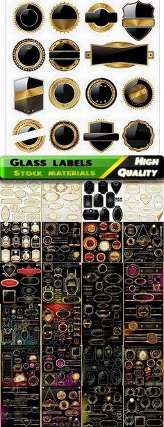 Vintage glass labels template design - 25 Eps