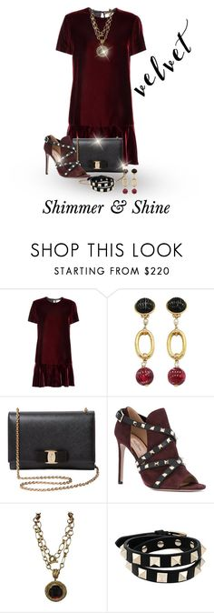 """Velvet For This Seaon"" by shamrockclover ❤ liked on Polyvore featuring Yves Saint Laurent, Valentino, Salvatore Ferragamo and Patrizia Daliana"