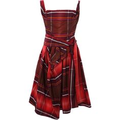 Red Sunday Check Dress, Vivienne Westwood Anglomania, size: 10 ($520) ❤ liked on Polyvore