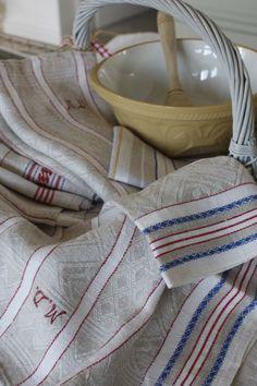 Vintage tea towels with monogrammes.