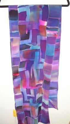 Painted Silk, Hand Painted, Diy Scarf, Silk Art, Nuno Felting, Fabric Painting, Silk Scarves, Wearable Art, Fabric Design
