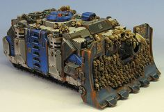 Another pre-Horus Heresy World Eater vehicle painted by James Wappel. Dig all the skulls, may have to nick that idea, but it would also require a lot of little plastic, resin, or metal skulls. Black Hat Miniatures makes a bag of skulls...