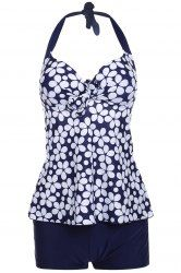 Sexy Floral Print Halterneck Two-Piece Swimsuit For Women