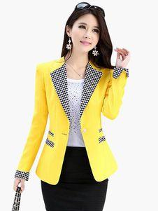 Elegante algodón mezcla Slim Fit chaqueta de las mujeres