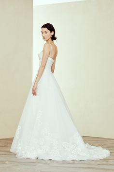 77a1c574ed2 Organza spaghetti strap A-line ballgown with double layered hand-painted  bodice and skirt