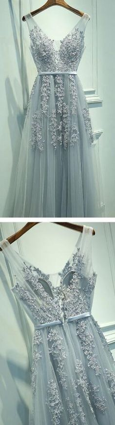 A-Line Sleeveless Gray Long Prom Dress,V-Neck Prom Dress
