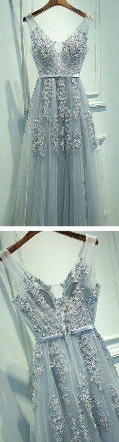 A-Line Sleeveless Gray Long Prom Dress,V-Neck Prom Dress