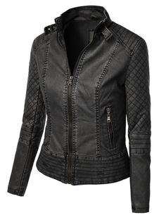 Give your outfit a trendy edgy look with this one of a kind faux leather biker jacket. Layer a basic t-shirt with distressed denim jeans for a casual day out. This moto jacket is a must have for all s