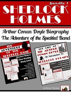 "Introduce students to the life of Sir Arthur Conan Doyle and one of his famous Sherlock Holmes stories, ""A Scandal in Bohemia."" Included in the Conan Doyle biography are. Reading Resources, School Resources, Teacher Resources, Teaching Ideas, Secondary Resources, Teaching Writing, Middle School Ela, High School, Arthur Conan Doyle"