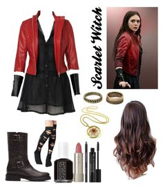 """""""Scarlet Witch"""" by abbie0987 ❤ liked on Polyvore featuring Frye, Forever 21, Essie, Ilia and Rodial"""