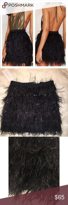 Lucy Paris Black Real Feather Skirt Firm price Fits medium size brand new with tags. Nasty Gal Skirts Mini