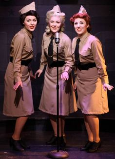 Jordan Yentz, Sarah Larson, Casi Maggio in A Musical Tribute to the Andrews Sisters at Theo Ubique. 1940s Fashion, Girl Fashion, Sister Costumes, Garrison Cap, Pinup Photoshoot, 1940s Outfits, Girl Tied Up, Uniform Dress, Good Looking Women