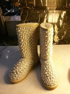 Pearl covered sheepskin lined boots Best Bridal Shoes, Rubber Rain Boots, What To Wear, Super Cute, Pearls, Winter, Cover, Wedding, Fashion