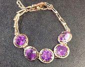 9ct gold synthetic alexandrite bracelet