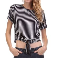 Dark Navy Striped Cropped Tie Shirt CUTE Super cute and perfect for spring and summer!!! Cropped tie in front shirt....navy with white stripes.  Small, Medium, Large available.  Comment your size and I will make you a personal listing! Made in USA!!! Ask any questions because I'm always happy to answer April Spirit Tops Crop Tops