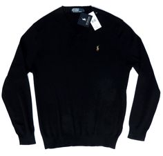 POLO RALPH LAUREN MENS NEW BLACK V NECK PIMA JUMPER PULLOVER SWEATER ALL SIZES