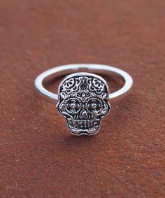 Sugar Skull ring Calaveras line by OurFamilyJewelsLA on Etsy