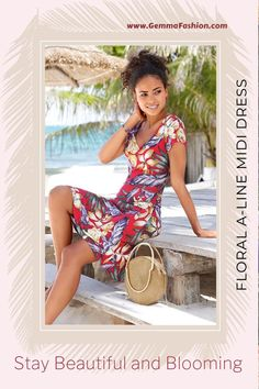 💥 FLORAL A-LINE MIDI DRESS This floral V-neck dress captures the spirit of the season. A form flattering silhouette, this piece is a perfect addition to your sunny day dress collection. #Fashion #Fashionista #outfit #womenswear #womensclothing #clothing #clothes #shoppingonline #chic #apparel #shopping #dresstoimpress Sheer Pants, Beach Skirt, Eyelet Dress, Beachwear For Women, Lovely Dresses, V Neck Dress, Women's Fashion Dresses, Clothes For Women
