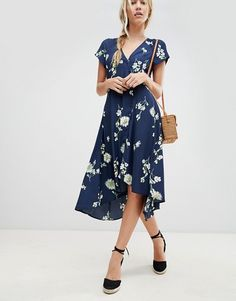 9d13e057bad30f Free People Lost In You floral dip hem wrap dress