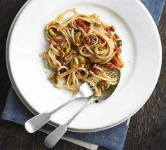Linguine with green olive & caper sauce recipe - Recipes - BBC Good Food