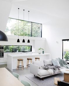 Allen Key House shortlisted for Houses magazine Awards 2017 Generous open plan spaces beautifully structured ceilings accentuate the flow of natural light and the contrast between Caesarstone Pure White surfaces polished concrete floors charcoal exterior & fresh white walls is absolute perfection Designed by @architectprineas | Built by @element_constructions | @chriswarnes