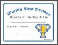 best grampa certificate