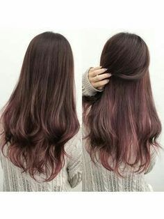 Silver Ombre Hair, Bold Hair Color, Dyed Hair, Peekaboo Hair, Gorgeous Hair, Hair Inspo, Hair Inspiration, Wine Hair, Balayage Hair