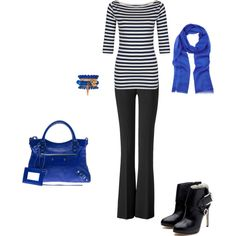 Electric blue is my favorite color. Dont so much love the boots, I would go more casual.