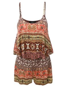 LE3NO Womens Sleeveless Ruffled Gypsy Printed Romper
