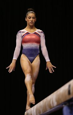 Red, white, and blue Aly Raisman competitive custom leotards at the 2015 US National Gymnastics Championship