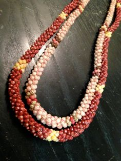 NIʻIHAU LEI - Made by the one and only, Master Lei maker Ella Pahulehua Kanahele, two exquisite rope style or Poepoe Niʻihau Kahelelani chokers  ❖  From Niʻihau Shell Designs on Facebook