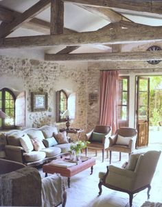 Stone walls & rustic beams