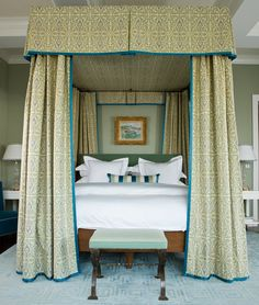 In Good Taste: Gary McBournie - Design Chic - amazing canopy bed in this bedroom and love the pillow arrangement!