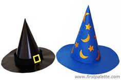 Witch or Wizard hat craft http://www.firstpalette.com/Craft_themes/Wearables/witchwizardhat/witchwizardhat.html