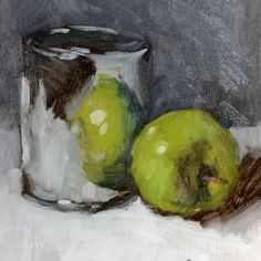 Still life painting, Apple Still Life Grey and Green, 7 x 7, oil painting on mounted linen canvas