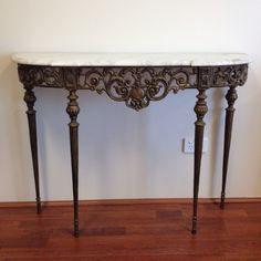 Antique Wrought Iron And Marble Hall Display Table ~ French Provincial