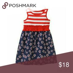 Red White and Blue Dress.l - NWT NWT. HEALTHTEX Girls Dress. Top of Dress is red and white stripe.bottom is Navy Blue with red and white flowers. Dresses Casual