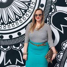 Stripes Pencil Skirt Leopard