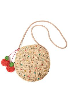 polka dot clutch you can wear as a shoulder bag or a crossbody. crocheted raffia with leather straps, cotton lining and raffia cherry poms, Crochet Purse Patterns, Bag Crochet, Crochet Handbags, Crochet Purses, Crochet Dollies, Polka Dot Purses, Knitted Bags, Crochet Accessories, Handmade Bags